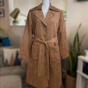 Suede Khaki Trench Coat